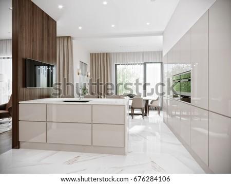 Modern Urban Contemporary Bright Large White Stock Illustration