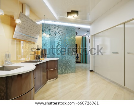 Modern Urban Contemporary High Tech Kitchen Stock Illustration