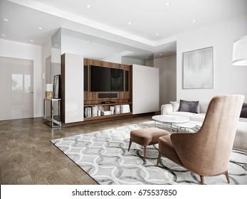 Modern urban contemporary living room hotel interior design with white walls, tv, kitchen, Wood walnut furniture. 3d render