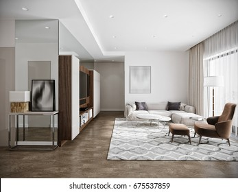 Modern urban contemporary living room hotel interior design with white walls, tv, kitchen, Wood walnut furniture. 3d render