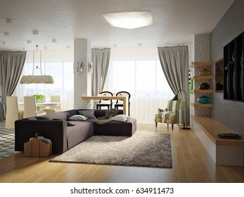 Modern Urban Contemporary Studio open living room, dining room and kitchen Interior Design with gray and white brick walls, bright stone floors and white glossy kitchen. 3d render