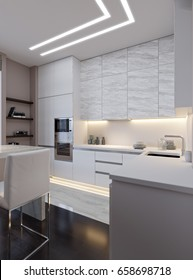 Modern Urban Contemporary White Gray Kitchen Interior Design with Marble Tiles, White Marble Bar countertop and LED Diode Ceiling lighting. 3d rendering