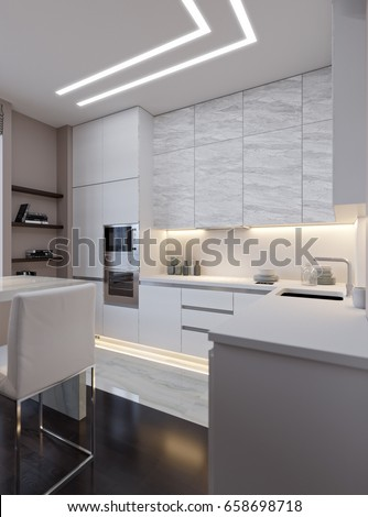 modern urban contemporary white gray kitchenのイラスト素材 658698718