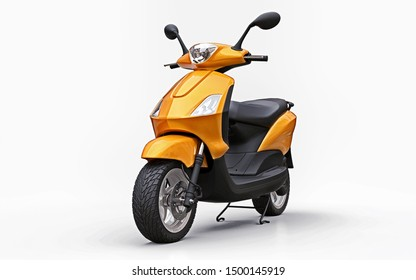 Modern urban orange moped on a white background. 3d illustration.