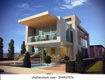 Modern villa - render 1