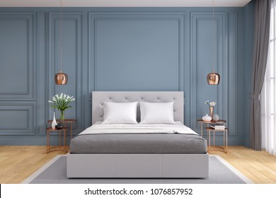 Modern and vintage bedroom design,Cozy gray room concept ,blue wall and wood floor,3d rendering
