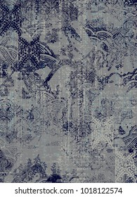 modern, vintage, ethnic, highly detailed abstract texture or grunge background. For art texture, grunge design, and vintage paper or border frame, modern damask pattern for carpet, rug,  scarf