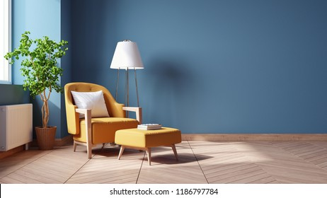 Modern Vintage interior of living room,,Blueprint home decor concept ,yellow armchairs with wood table on blue wall and Hardwood Flooring ,3d render