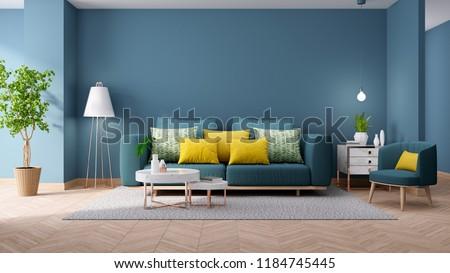 Modern Vintage Interior Living Room Blueprint Home Stockillustration