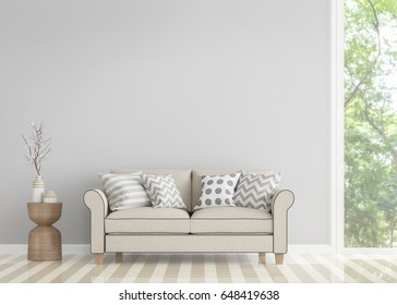Modern vintage living room 3d rendering image.Decorate room with vintage style sofa There are large window overlooking to nature and forest