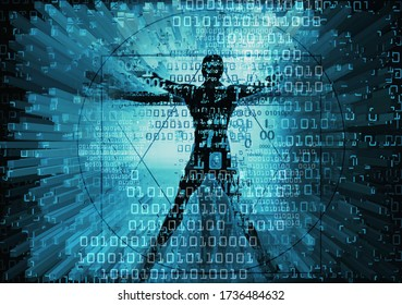 Modern Vitruvian man and computer data. Futuristic grunge stylized Illustration of blue vitruvian man with destroyed binary codes,3d graphic elements.