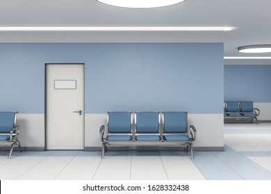 Modern waiting room in blue medical office interior with chairs and blank wall. Medical and healthcare concept. 3D Rendering
