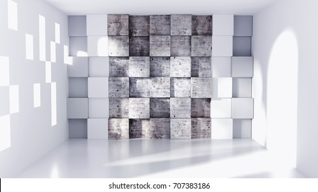 Modern Wall panel, concrete cubes in a white feature wall  3D Rendering