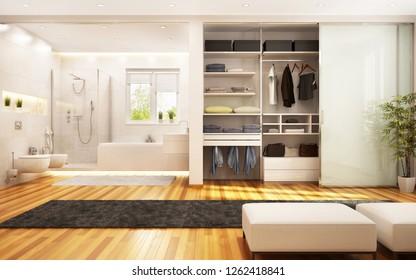 Modern wardrobe and bathroom in the large bedroom. 3d rendering