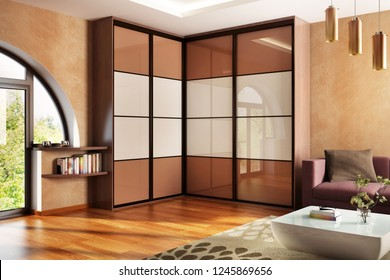 Modern wardrobe in the big house. 3D rendering
