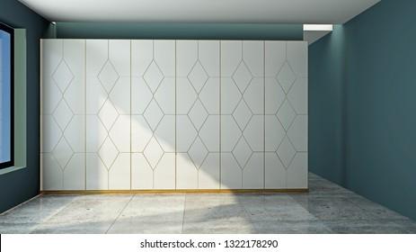 Modern wardrobe in the room 3D rendering