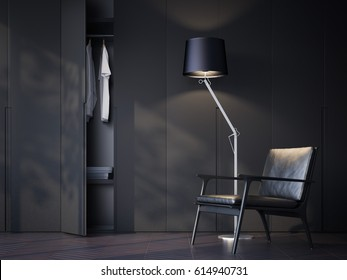 Modern wardrobe room with black leather chair and lamp. 3d rendering