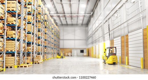 Modern warehouse full of cardboard boxes. 3d illustration