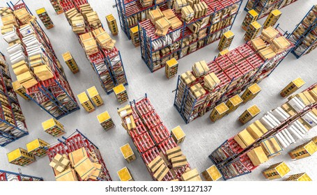modern warehouse full of goods on the shelves, automated transport system using modern drones. image 3d render. Logistics and shipping concept.