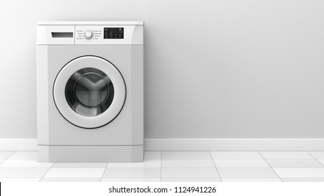 modern washing machine in front of white wall. 3d illustration