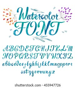 Modern Watercolor Alphabet. Hand drawn watercolor font for your design. Abstract blue Alphabet