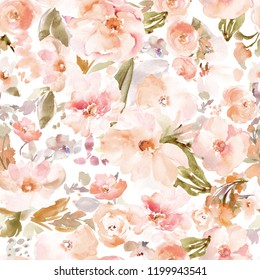 Modern Watercolor Floral Background Pattern with Peach and Blush Tones