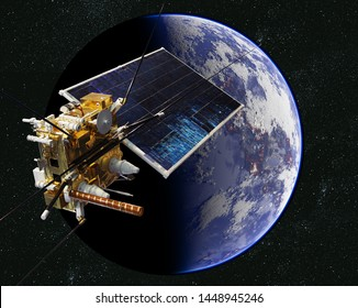 Modern weather and scientific space satellite monitoring Earth from orbit. 3d rendering background. 3D illustration