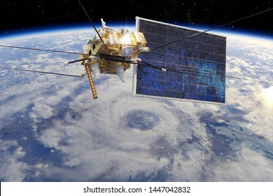 Modern weather space satellite monitoring Earth from orbit. 3d rendering background. 3D illustration