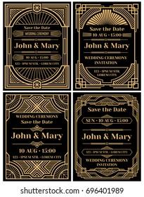 Modern wedding invitation mockup in classic art deco retro style. Wedding invitation frame card design, illustration of invitation to wedding