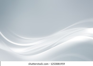 Modern white abstract waves on grey backgound