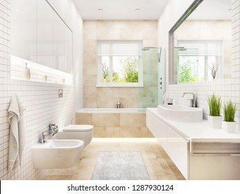 Modern white bathroom with bath and window. 3D rendering