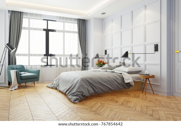 Illustration De Stock De Chambre Blanche Moderne Lit King Size Avec 767854642