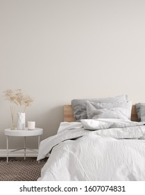 Modern white bedroom interior close up with minimal decor, 3d render