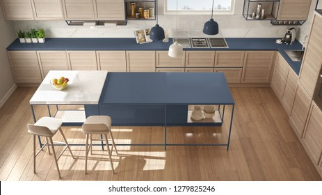 Modern white and blue kitchen with wooden details and parquet floor, modern pendant lamps, minimalistic interior design concept idea, island with stools and accessories, top view, 3d illustration