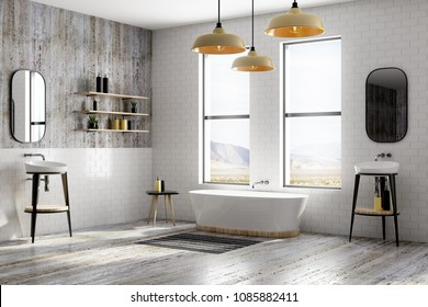 Modern white brick bathroom interior with window view and equipment. Design, style and real estate concept. 3D Rendering