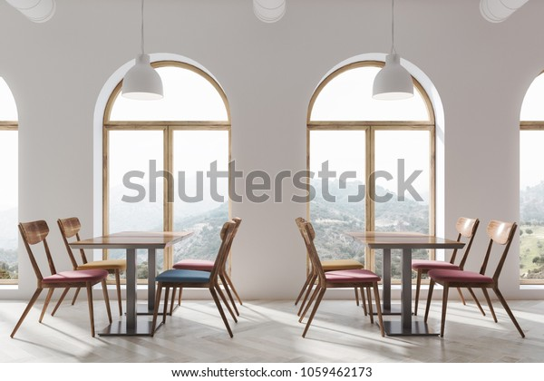 Outstanding Modern White Cafe Interior Wooden Floor Stock Illustration Alphanode Cool Chair Designs And Ideas Alphanodeonline
