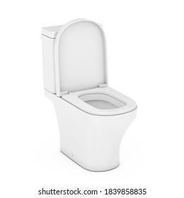 Modern White Ceramic Toilet Bowl on a white background. 3d Rendering