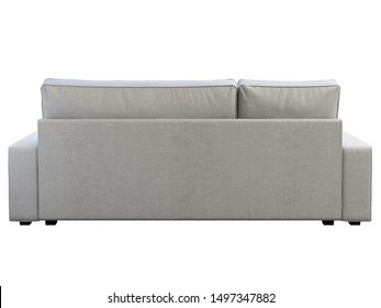 Modern white fabric sofa with chaise lounge. Textile upholstery three-seat corner sofa on white background. Scandinavian interior. 3d render