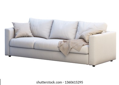 Modern white fabric three-seat sofa. Textile upholstery sofa with pillows and plaid on white background. Scandinavian interior. 3d render