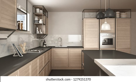 Modern white and gray kitchen with wooden details and parquet floor, modern pendant lamps, minimalistic interior design concept idea, island with stools and accessories, 3d illustration
