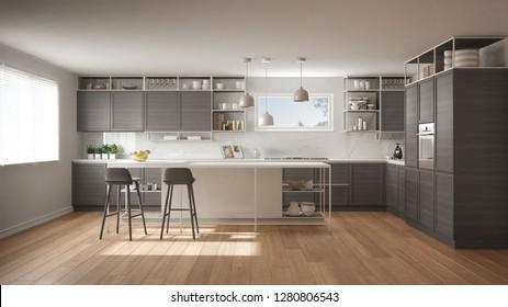 Moderne, weiße und graue Küche mit Holzmöbeln und Parkettboden, moderne Pendant-Lampen, minimalistisches Design-Konzept, Insel mit Stühlen und Accessoires, 3D-Illustration