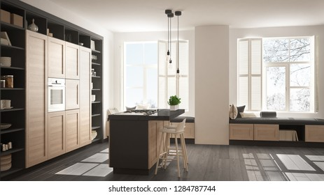 Modern white and gray kitchen with wooden details in contemporary luxury apartment with parquet floor, vintage retro interior design, architecture open space living room concept idea, 3d illustration