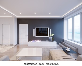 Modern white gray living room interior design with big windows and beautiful sea and mountain views. 3d rendering.