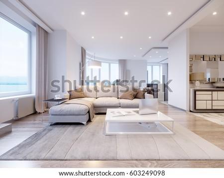 Modern White Gray Living Room Interior Stockillustration 603249098