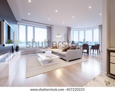 modern white gray living room interior stock illustration 607220225