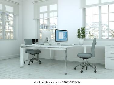 Modern white home office interior design 3d Rendering mockup