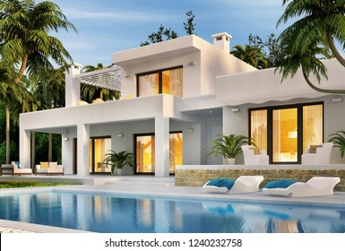 Modern white house with swimming pool. 3D rendering