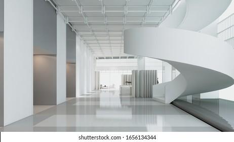 Modern white interior auditorium. 3d rendering,illustration