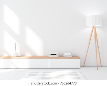 Modern white interior wall mockup with console, blank empty room, 3d rendering