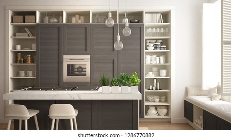 Modern white kitchen with dark wooden details in contemporary luxury apartment with parquet floor, vintage retro interior design, architecture open space living room concept idea, 3d illustration